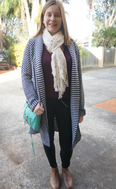 jeans and tee tan Chelsea ankle boots star print scarf striped cardi aqua bag | Away From Blue