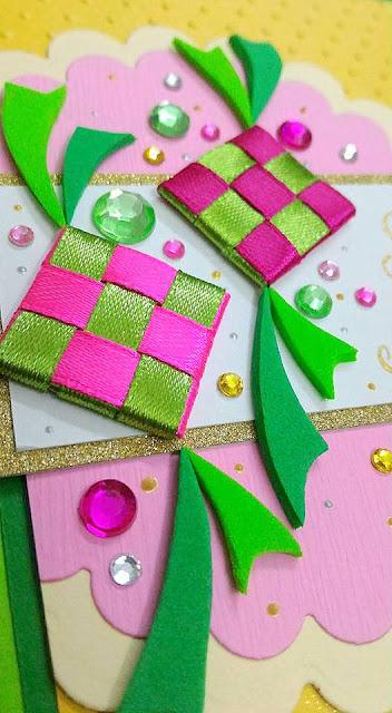 how to make ketupat ribbons for raya cards