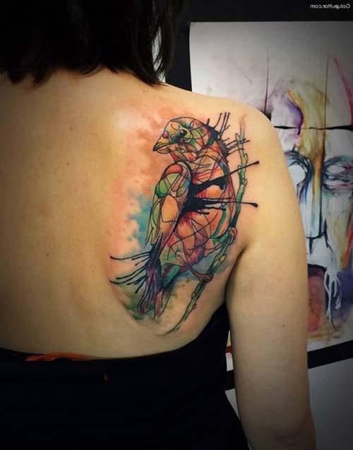 colorful geometric bird tattoo renkli geometrik kuş dövmesi