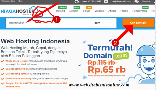 """Ketikkan Nama Domain dan Klik """"Cek Domain"""""""