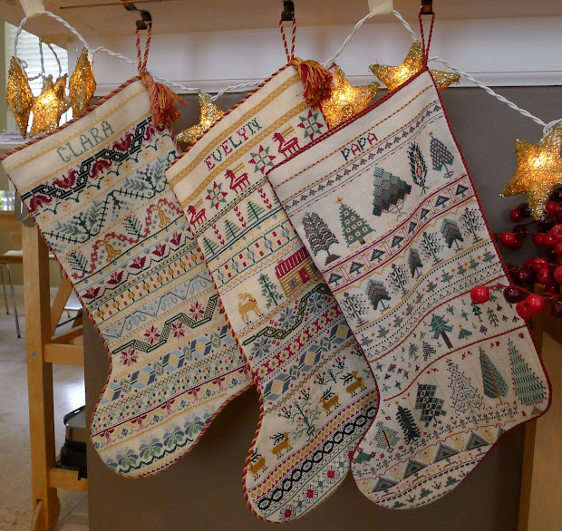 Palace Of Leaves Three Cross-stitched Christmas Stockings