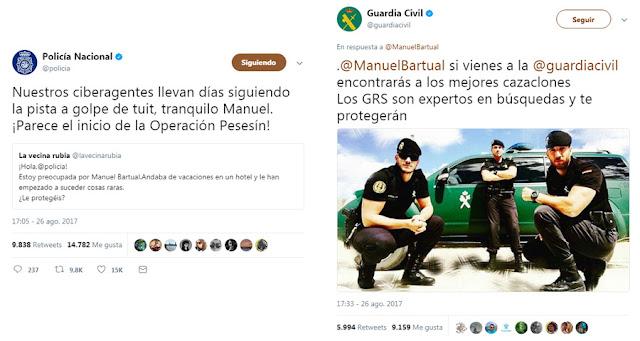 La Policía Nacional y la Guardia Civil bromean con Manuel
