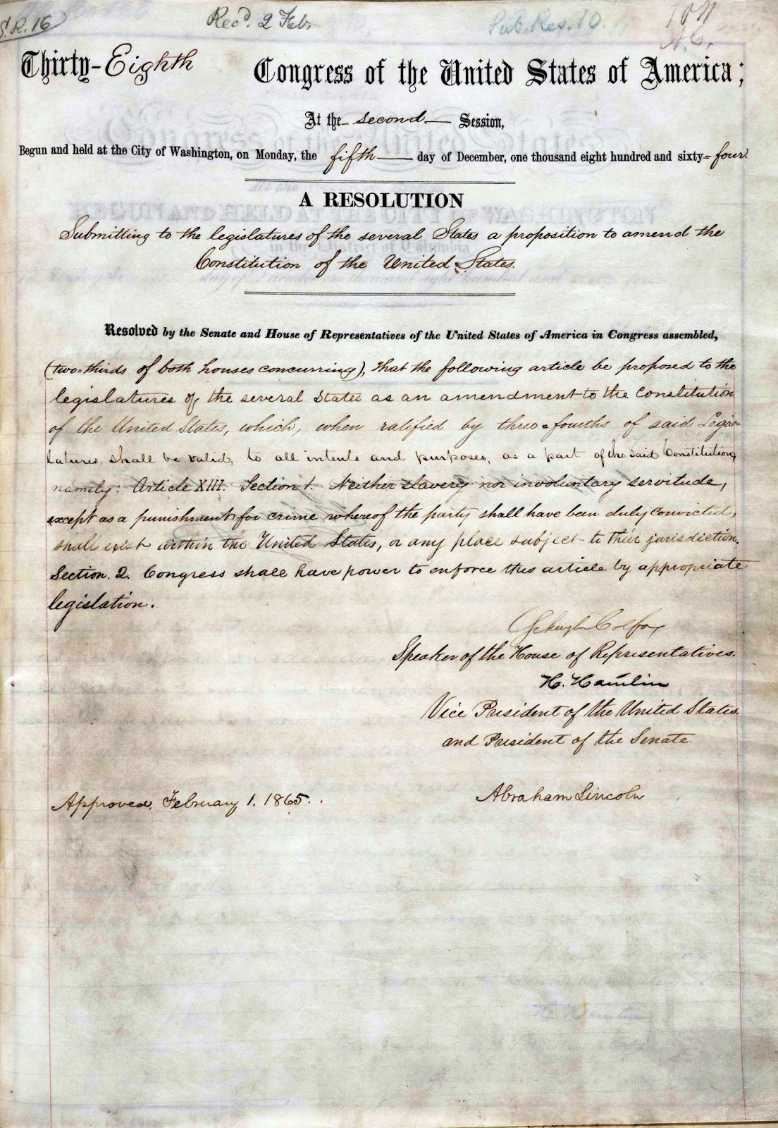 United States Constitution and Citizenship Day: 13th Amendment