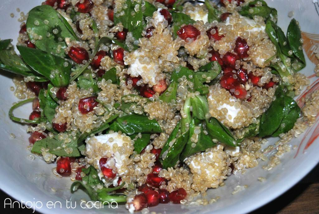 Ensalada de quinoa, queso de cabra y granada - Antojo en tu cocina