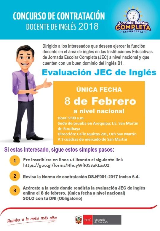 Concurso de contrataci n docentes de ingl s 2018 ugel for Concurso meritos docentes 2016