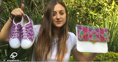 Empresando ONI de Sara Sacal tenis de PET, tenis con diseños de tela de artesanos