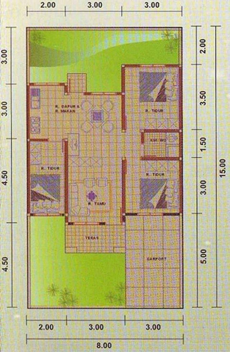 denah rumah 8x12 1 lantai kamar 3 modern