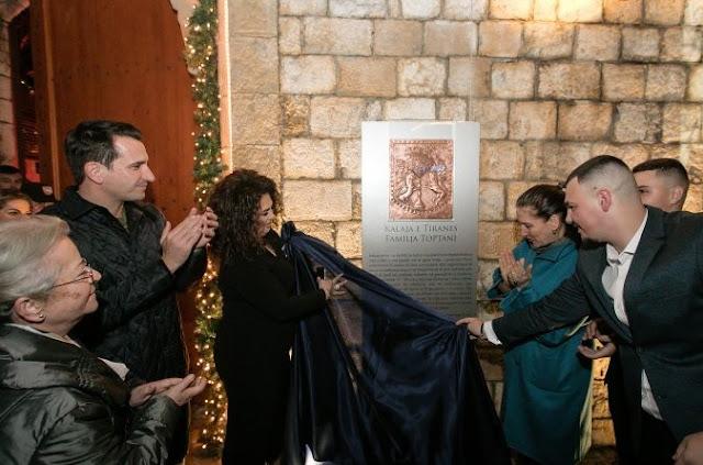 Erion Veliaj (left), the wife of Edmond Toptani (middle) and Mirela Kumbaro (right) inaugurating the Castel of Tirana