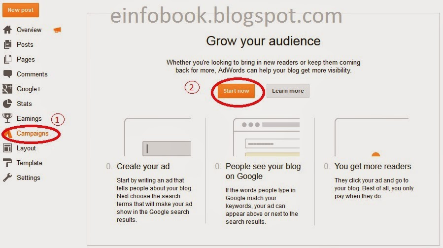 E Info Book Sign up for Adwords from Blogger
