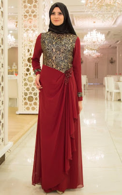 Baju muslim brokat model gaun 1
