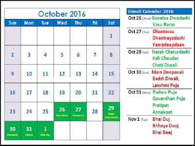 Happy Deepavali 2016 Calendar