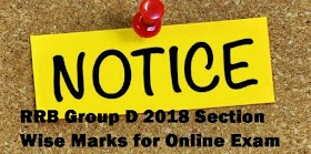 RRB Group D 2018 | Notice On Section Wise Marks for Online Exam
