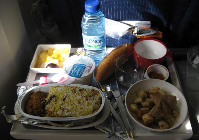 Vegetarisches Essen bei Air France - indisch angehaucht