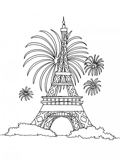 dessins et coloriages coloriage moyen format imprimer la tour eiffel de paris en f te. Black Bedroom Furniture Sets. Home Design Ideas