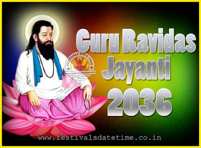 2036 Guru Ravidas Jayanti Date & Time, 2036 Ravidas Jayanti Calendar