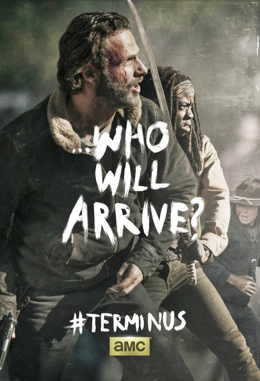 "The Walking Dead Season 4 Finale ""Terminus"" One Sheet Television Posters - ...Who Will Arrive? - Andrew Lincoln as Rick Grimes, Danai Gurira as Michonne & Chandler Riggs as Carl Grimes"