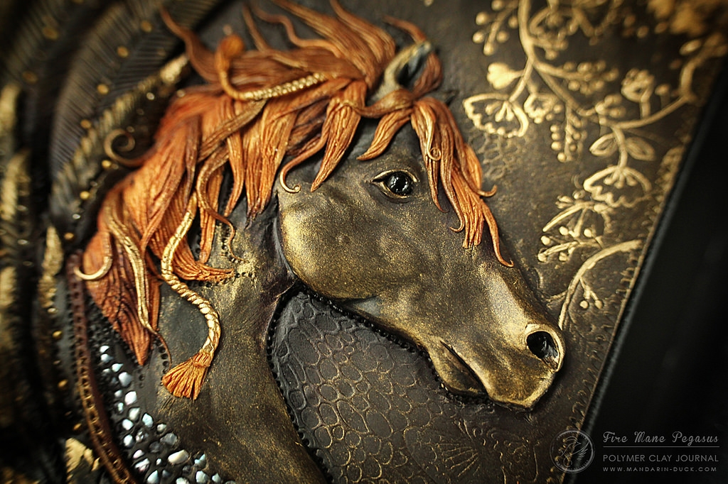 14-Feathered-Horse-detail-Aniko-Kolesnikova-Polymer-Clay-Book-Diary-and-Electronics-Cover-www-designstack-co