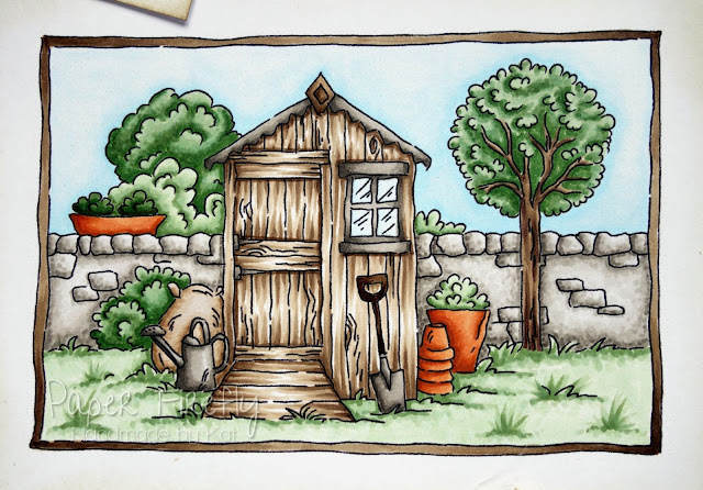 Masculine card with image of garden shed from LOTV