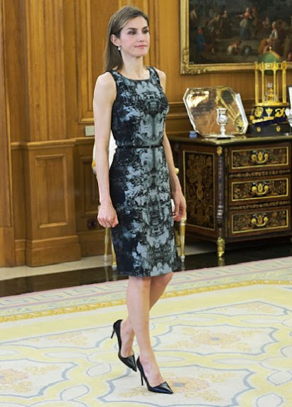 Queen Letizia hold Audience at Zarzuela Palace. Queen Letiza wore HUGO BOSS Dress and PRADA Pumps