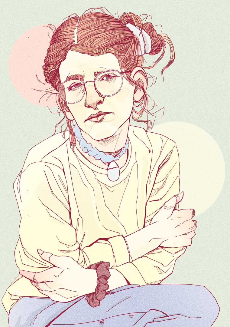 portrait girl with glasses