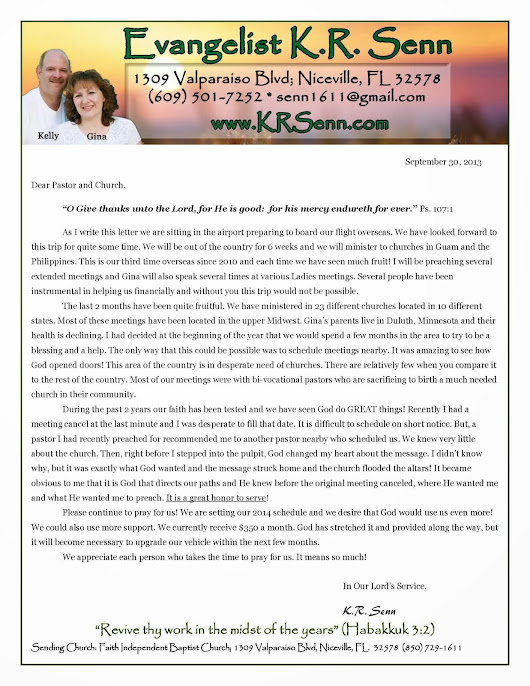 OCTOBER PRAYER LETTER