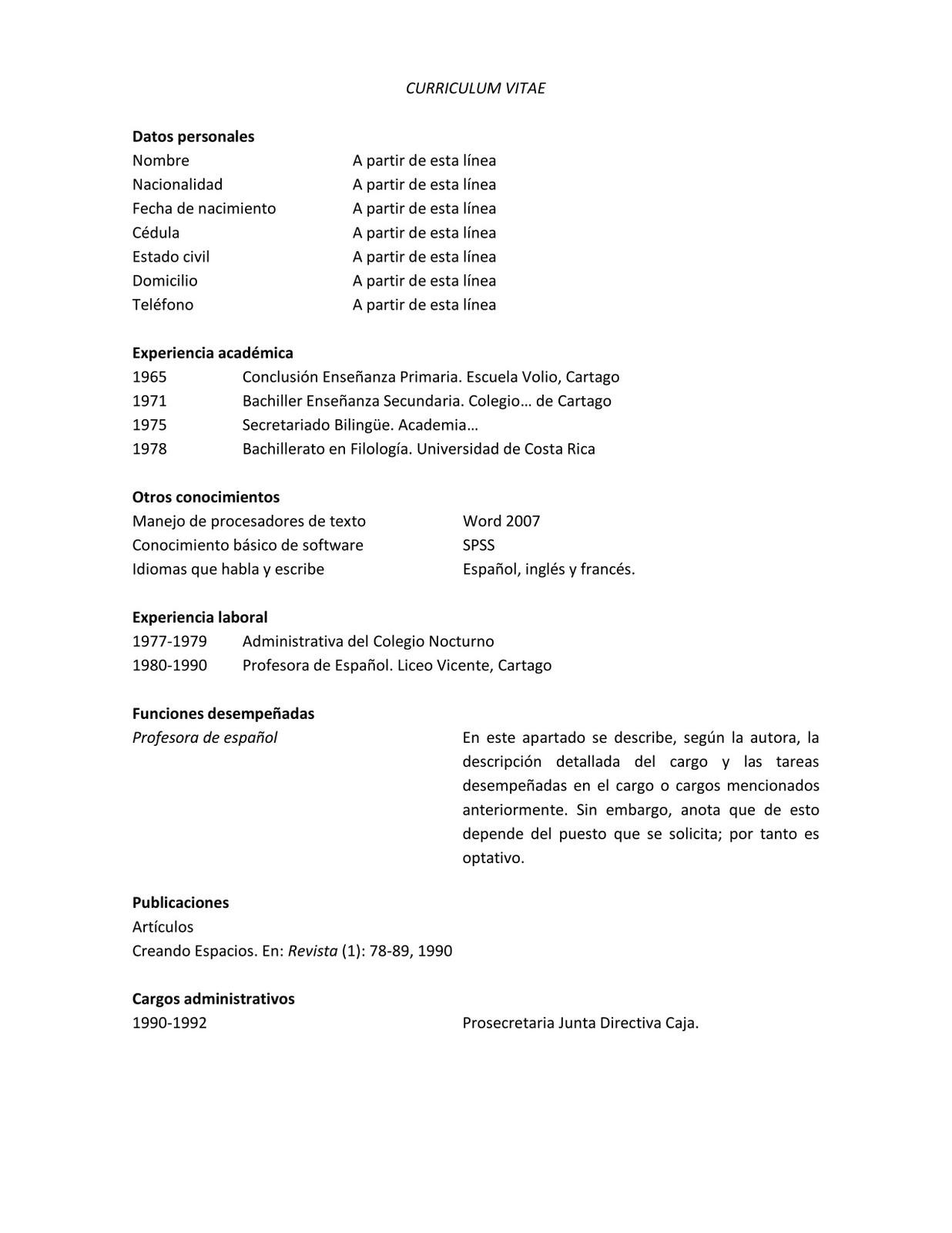 Pienso En Costa Rica El Curriculum Vitae