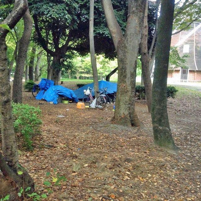 Homelessness in Meijo Koen, Nagoya, Aichi, Japan