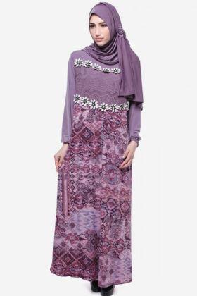 Baju gamis batik cantik wanita muslim kombinasi