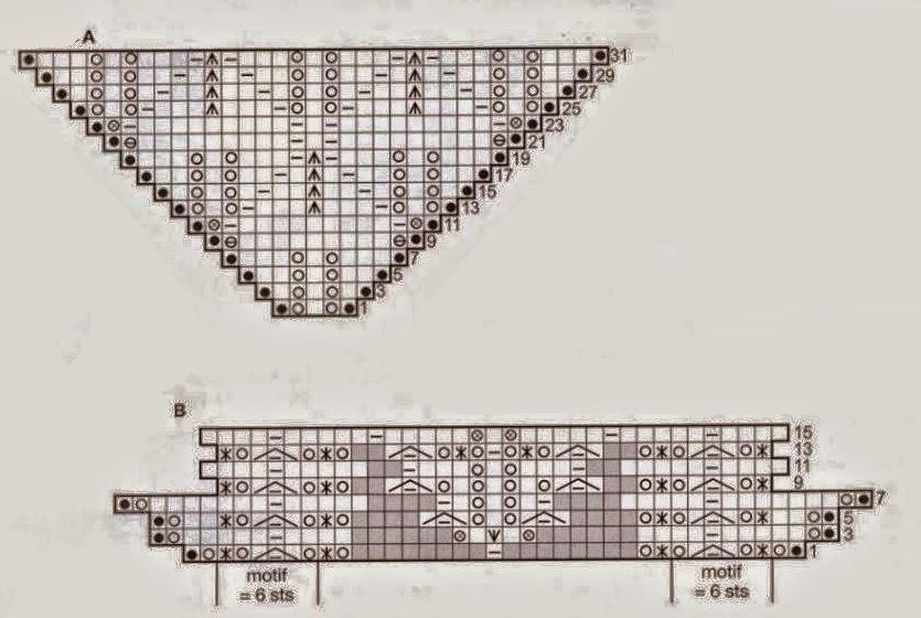Chal triangular con dos agujas con esquemas | Crochet y Dos agujas ...