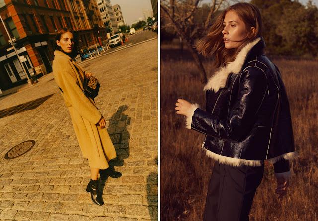Девушка в желтом пальто и кожаной черной куртке с мехом