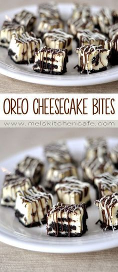 I love cheesecake. And I love Oreo cheesecake.  What could be better than combining my favorite components into bite-sized form drizzled with white and dark chocolate?  Pure heaven, my friends. Pure heaven.