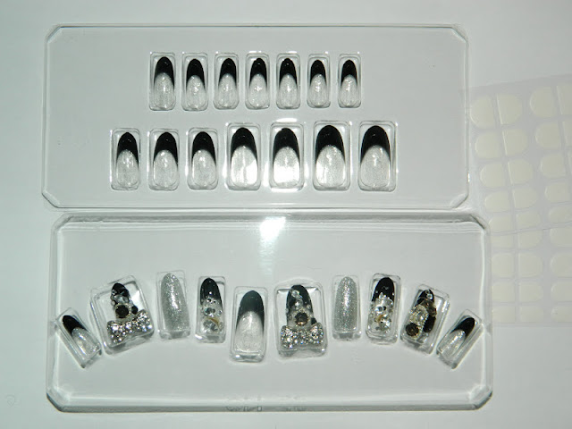 nazilla monochrome bling false nails