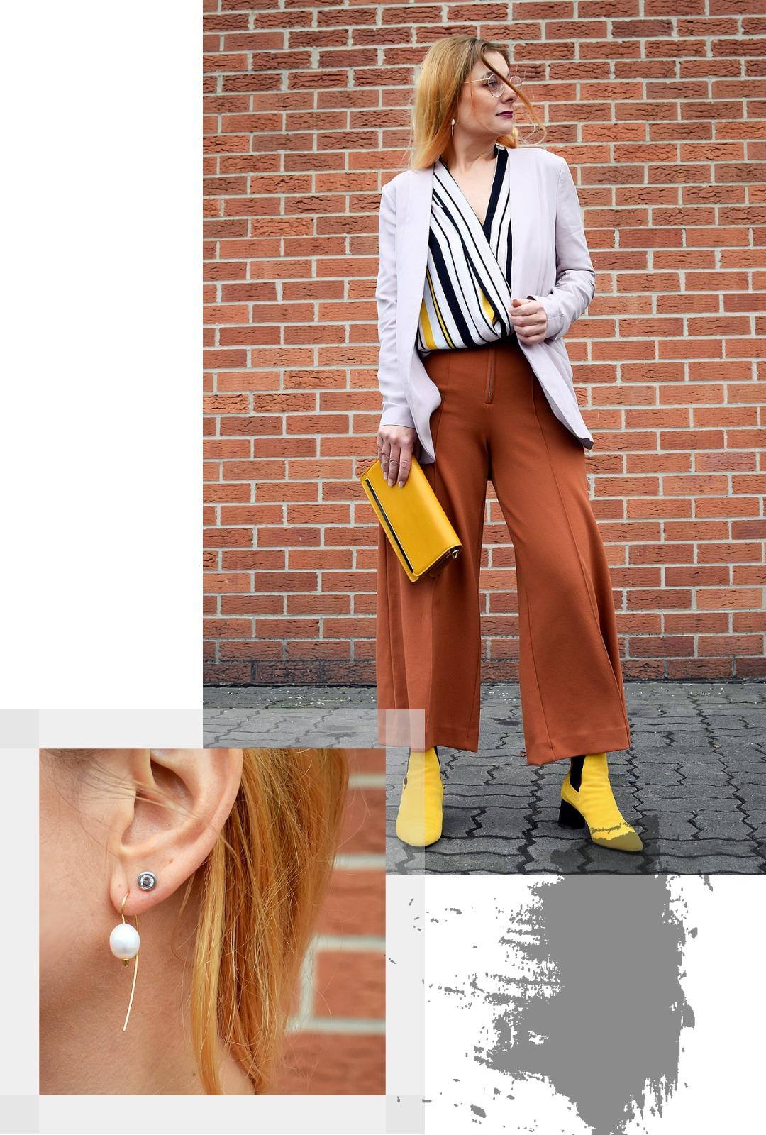 Outfit mit gelben Schuhen, Hose in Orange, Blazer rosa
