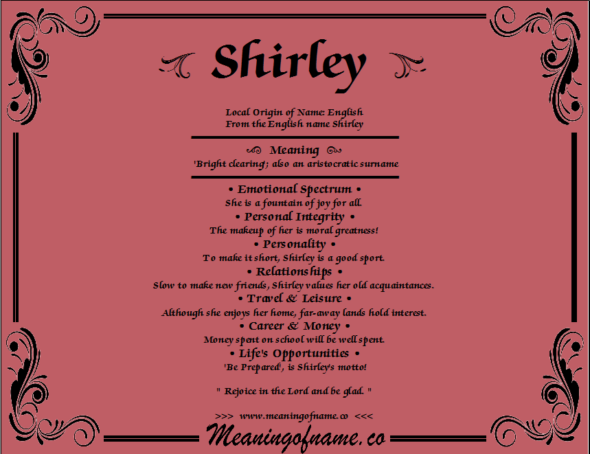 Shirley - Meaning of Name