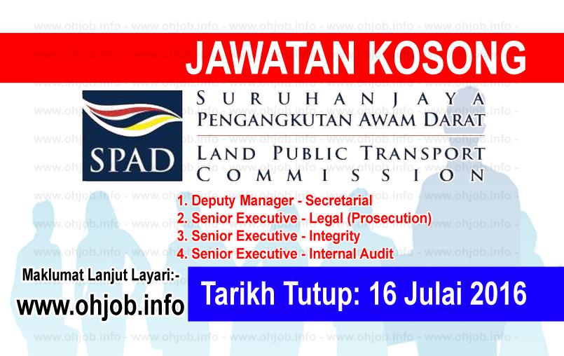 Jawatan Kerja Kosong Suruhanjaya Pengangkutan Awam Darat (SPAD) logo www.ohjob.info julai 2016