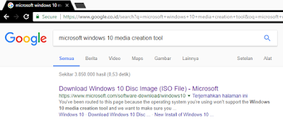 "Search ""microsoft windows 10 media creation tool"""