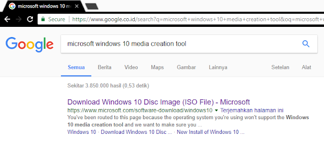 "Search ""microsoft windows 10 media creation tool"""