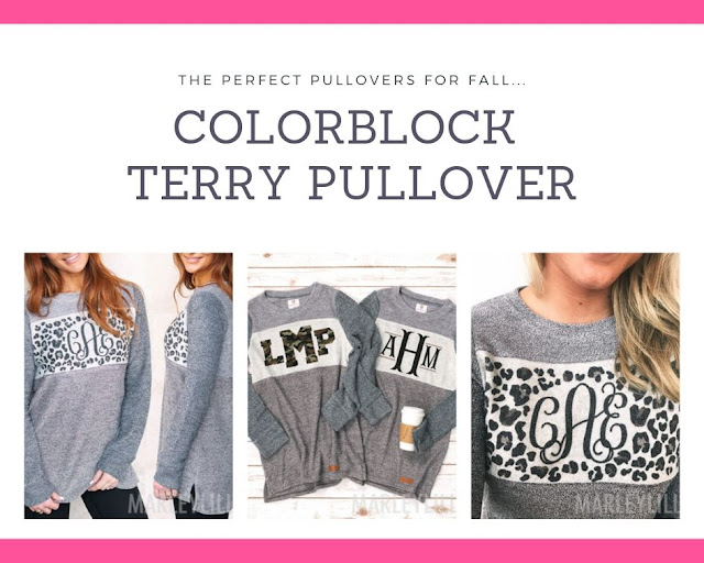 monogrammed colorblock terry pullover