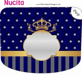 Etiqueta Nucita de Corona Dorada en Azul y Brillantes para imprimir gratis.