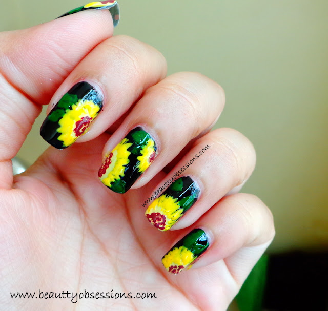 NailArt Inspired By Sun Flower - Step By Step Tutorial