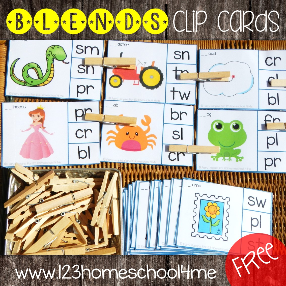 Free Consonant Blends Clip Cards