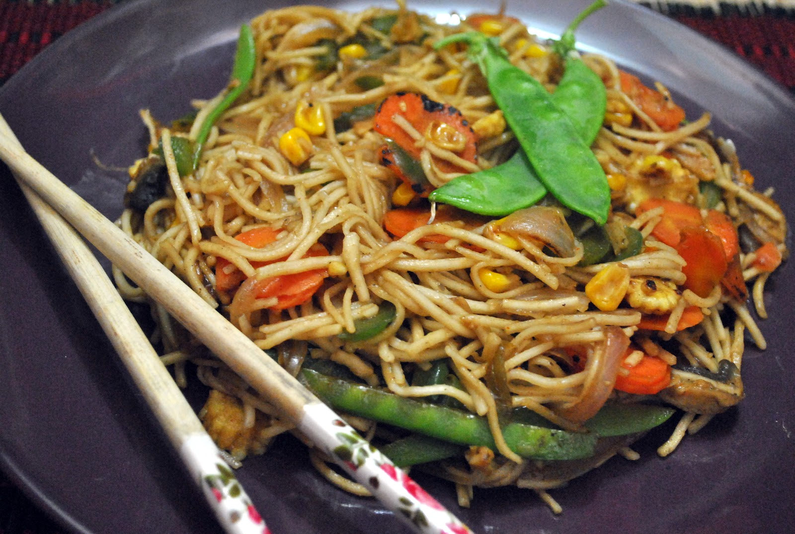 Cooking with my baby: Vegetable Chow Mein (Noodles)
