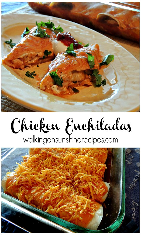 Dinner is ready in 30 minutes tonight with these EASY Chicken Enchiladas from Walking on Sunshine.