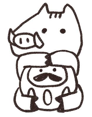 ダルマを抱えた猪のイラスト(亥年)モノクロ線画