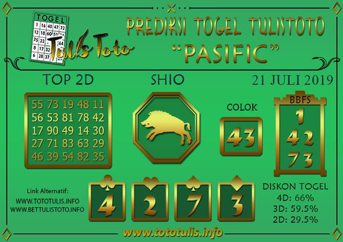 Prediksi Togel PASIFIC TULISTOTO 21 JULI 2019