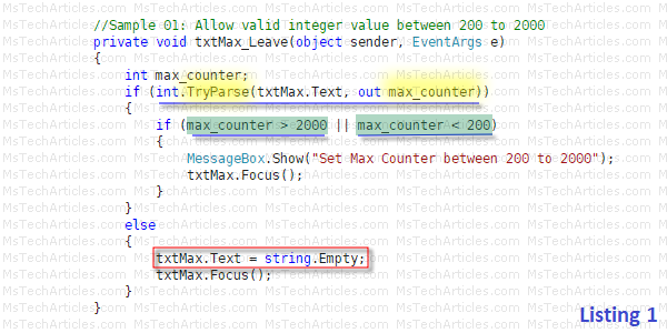 Pic 2. Max Counter Validation
