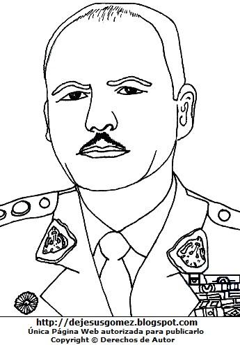 Imagen de Juan Velasco Alvarado para colorear pintar imprimir. Dibujo de Juan Velasco Alvarado de Jesus Gómez