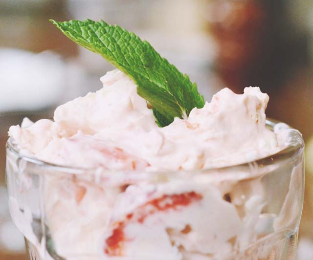 Eton Mess topped with mint leaf