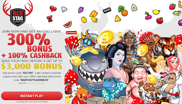 Red Stag Casino 300% Welcome Bonus and 100% Cash Back