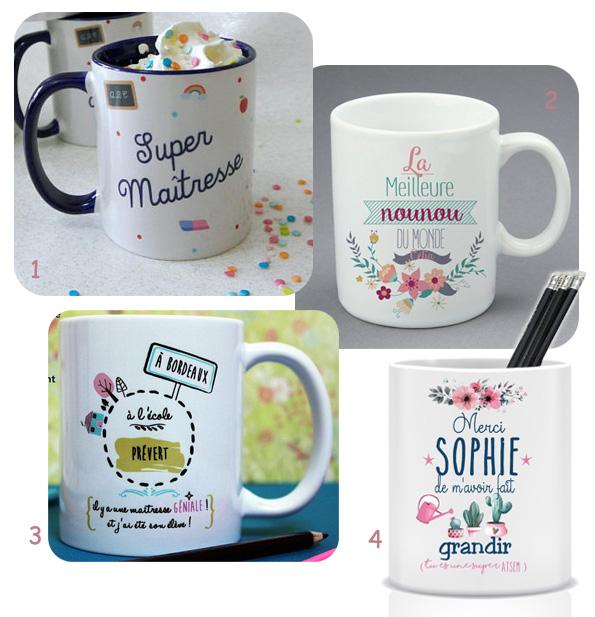 Mugs ou pots à crayons maîtresse, nounou, atsem